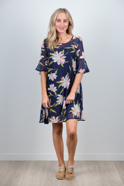 Ginny Dress Large Navy Floral from White Chalk Ltd