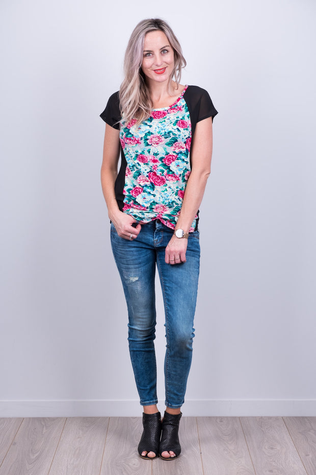 Black Floral Wallace Top from White Chalk