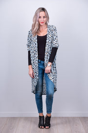 Spearmint Animal Print Tussock Jumper Cardi from White Chalk