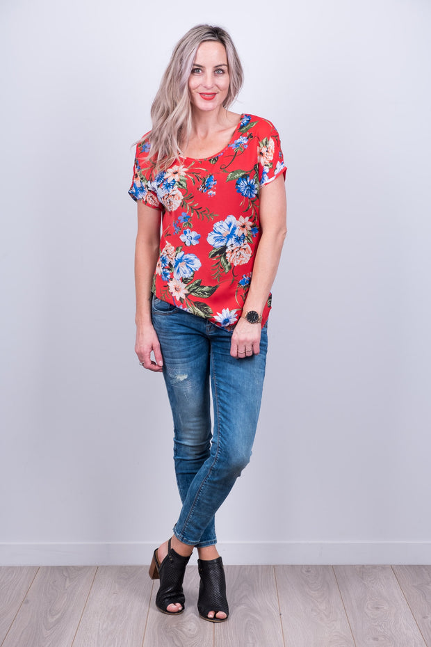 Red Floral Vienna Top from White Chalk