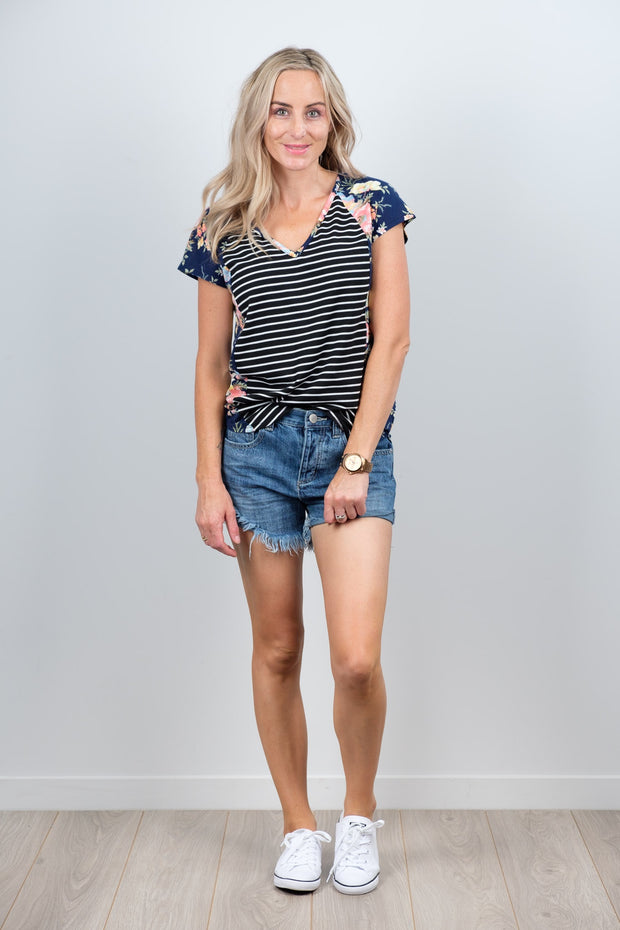 Navy Floral Sleeve Black and White Body Wallace Top from White Chalk Ltd