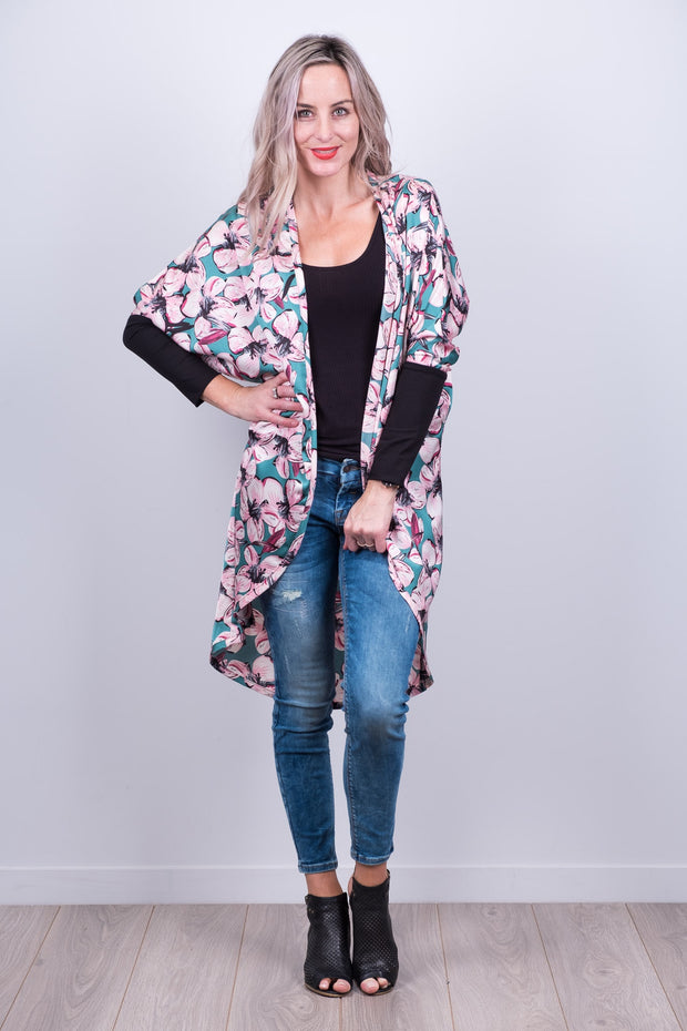 Green Floral Tussock Jumper Cardi from White Chalk
