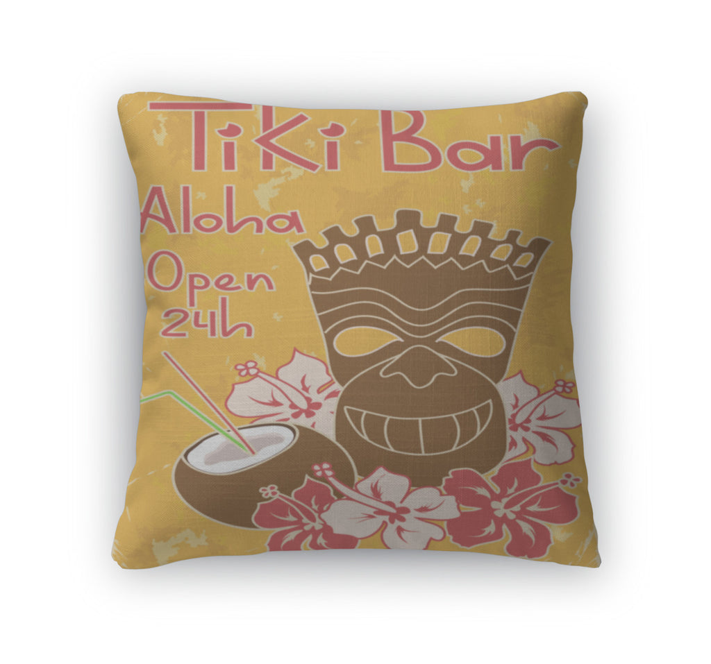 Throw Pillow, Vintage Tiki Bar Poster