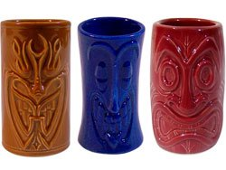 Tiki Shot Glasses 2 Oz. in Brown, Blue, and Red - TikiFreek