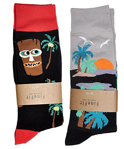 Men's Novelty Print Trouser Socks 2 Pair Set (Tiki & Sunset)