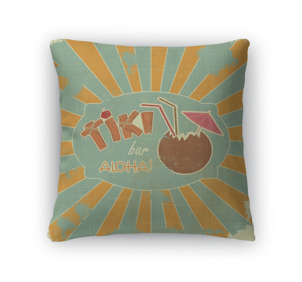 Throw Pillow, Retro Design Tiki Bar Menu