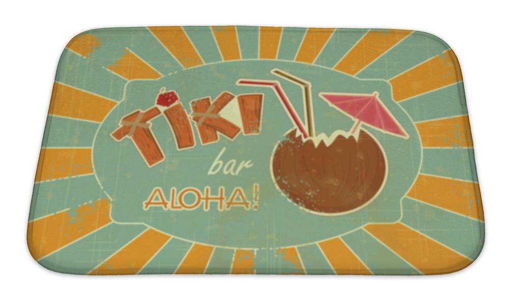 Bath Mat, Retro Design Tiki Bar Menu