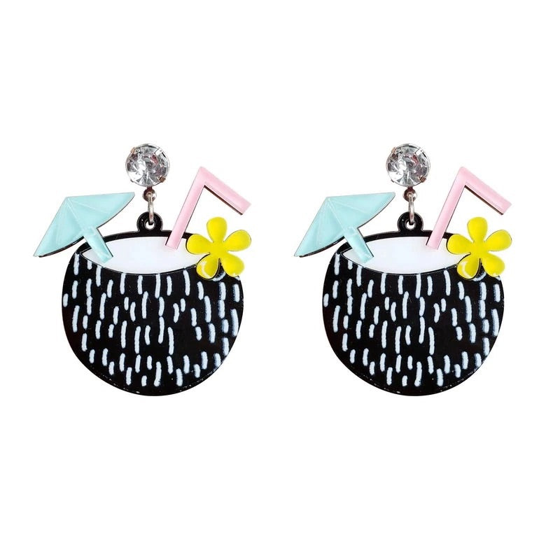Coconut Tiki Cocktail Earrings - TikiFreek