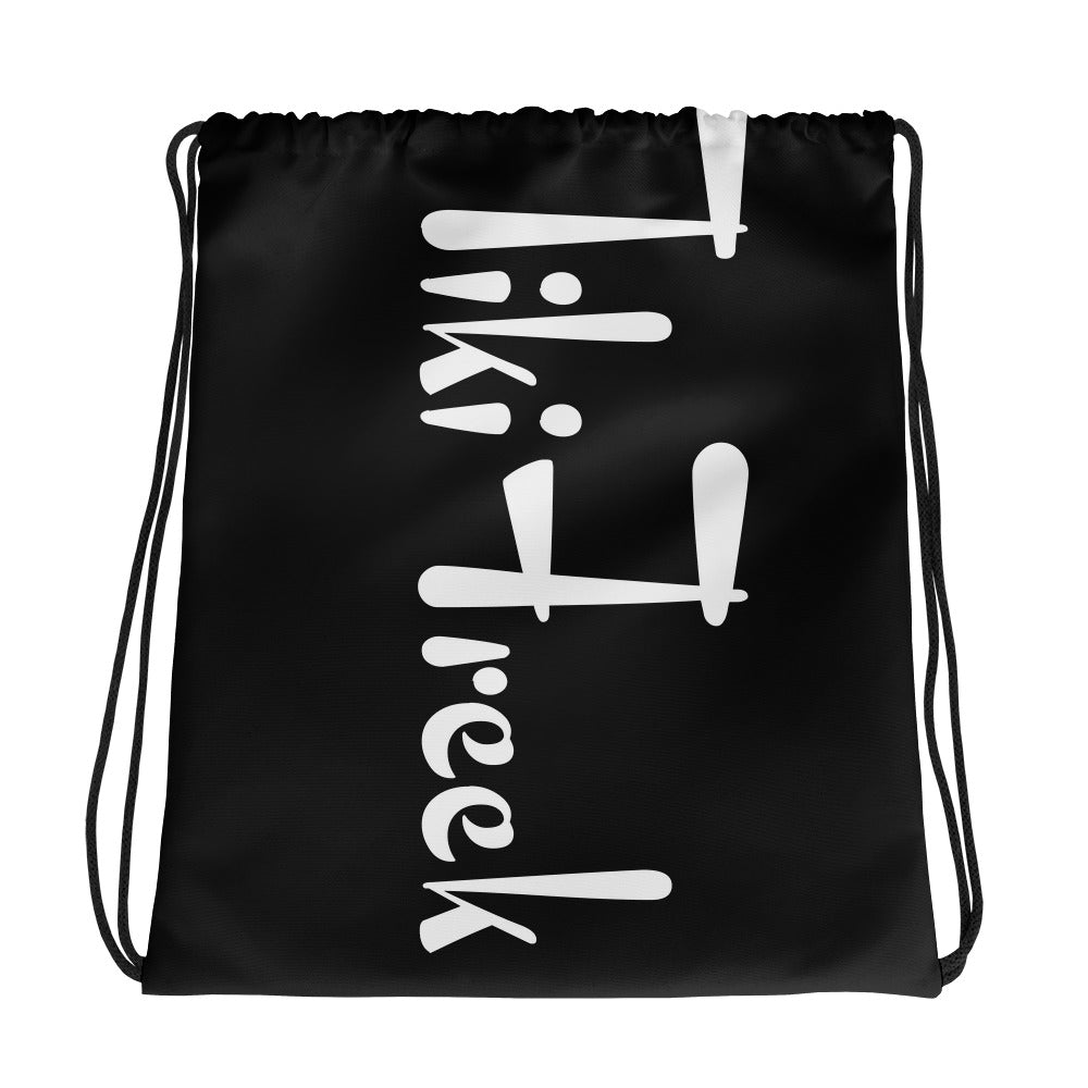TikiFreek Black and White Logo All-Over Print Drawstring Bag