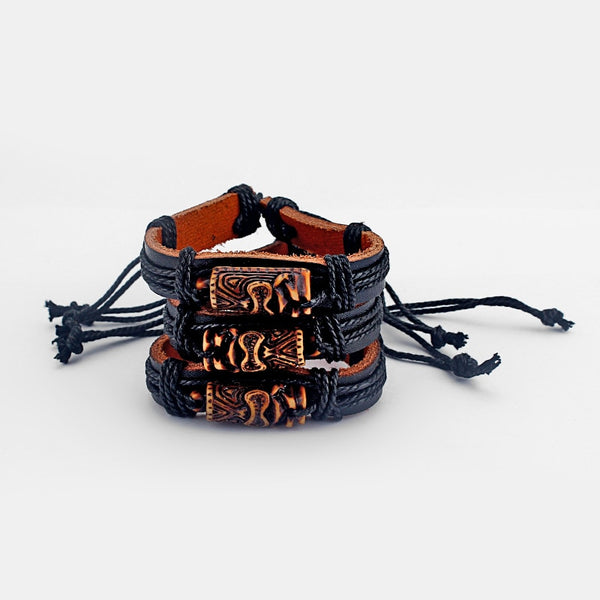 12pcs Brown Tiki Man Charm Leather Adjustable Bangle Bracelets