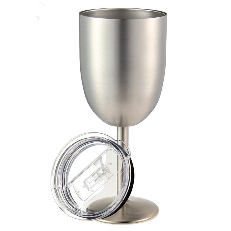 Stainless Steel Wine Glass with Leak Resistant Lid - TikiFreek