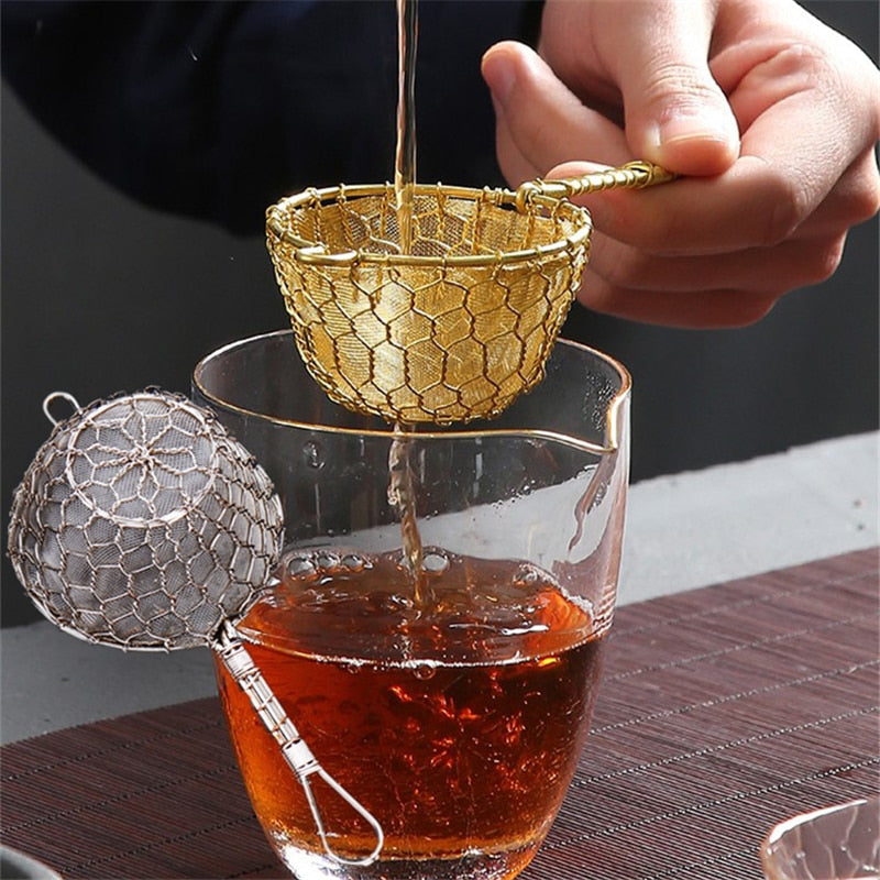 1pcs Fine Copper Handcrafted Conical Cocktail Sieve