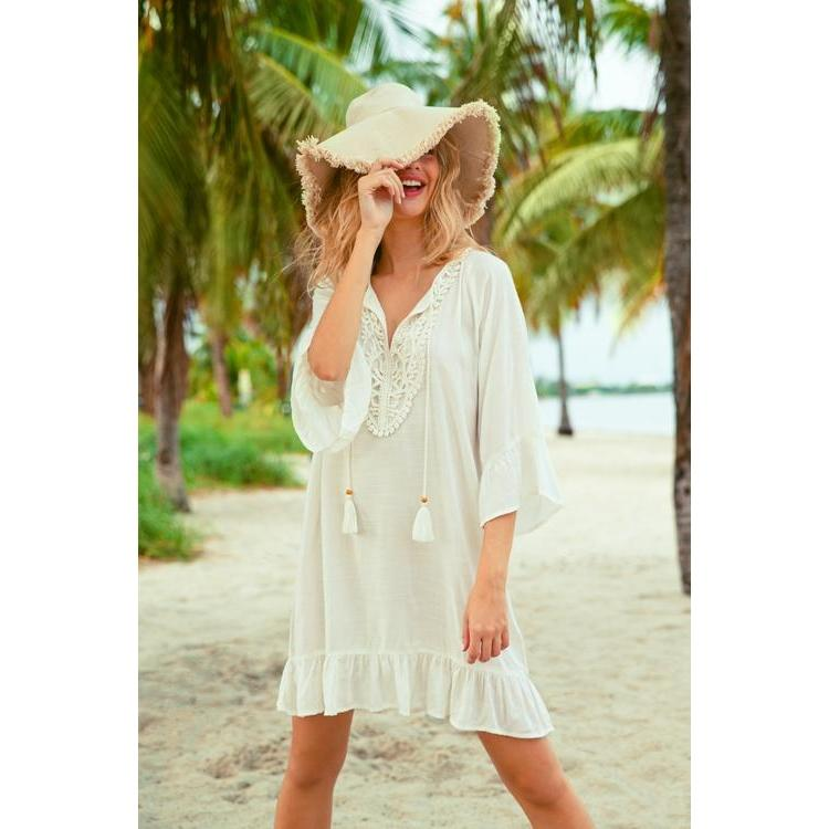 Paradise Tunic Dress With Ruffles