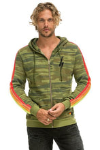 Load image into Gallery viewer, CLASSIC 4 STRIPE BOLT ZIP HOODIE - CAMO // NEON STRIPES