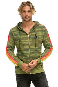 CLASSIC 4 STRIPE BOLT ZIP HOODIE - CAMO // NEON STRIPES