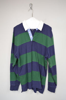 90's Striped Long Sleeve Polo