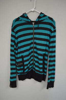 Striped Zip Up Hoodie