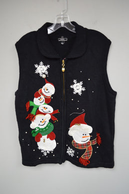 Holiday Snowman Sweater Vest w Jingle Bells