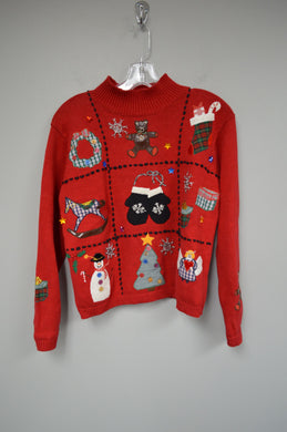 Holiday Christmas Sweater w Teddy Bears