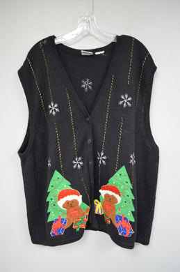 Holiday Christmas Zip Up Sweater Vest