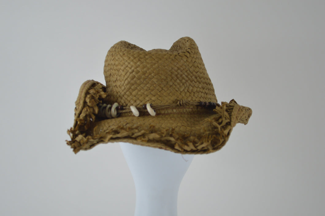 Cowboy Hat with Shell and Bead Band