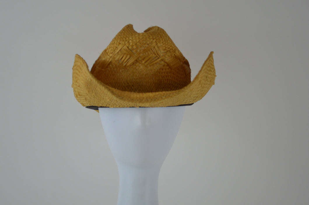 Straw Hat with Wide Brim and Curled Sides