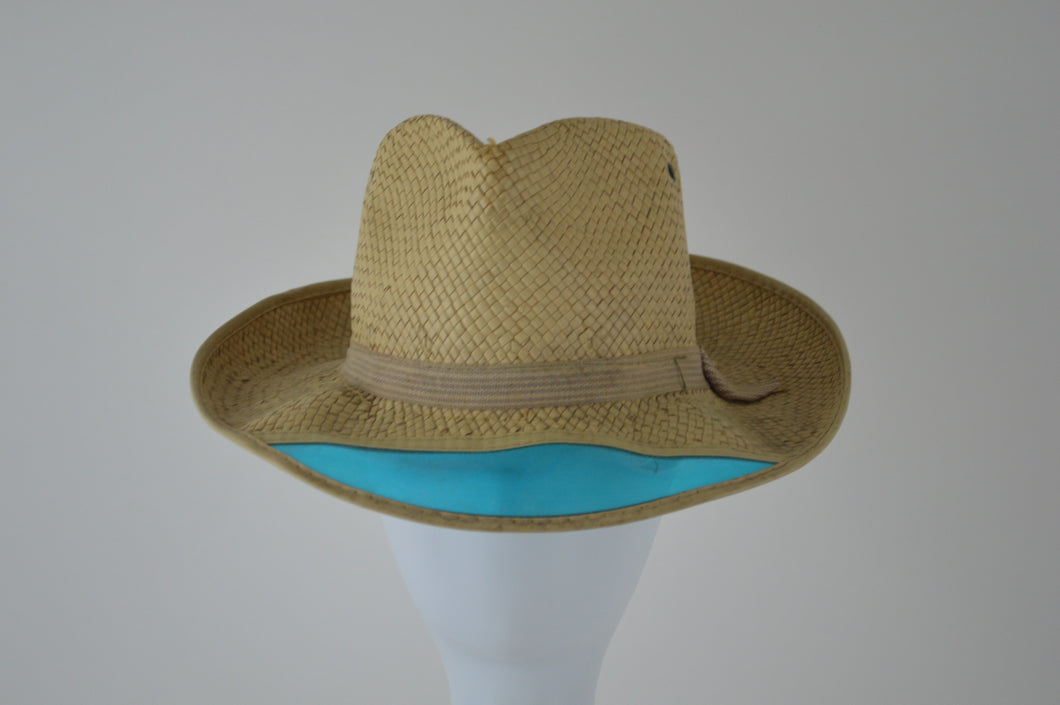 Straw Trilby with Blue Visor