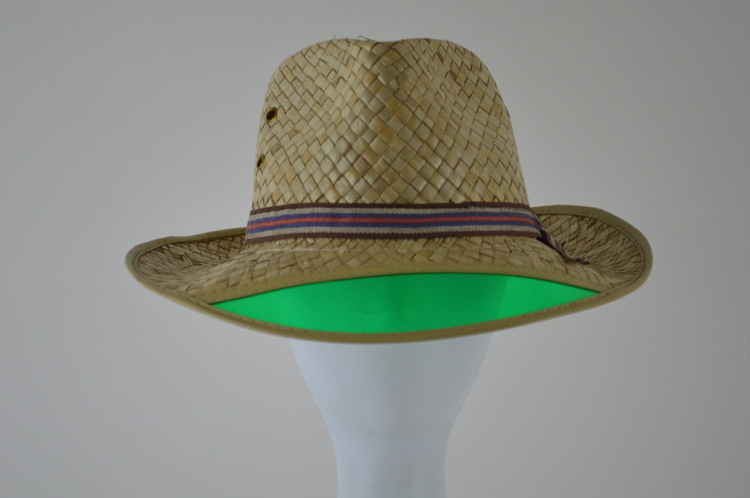 Straw Trilby with Green Visor