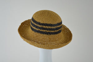 Striped Bowler with Curled Brim