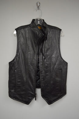 Zip Up Leather Vest With Pockets