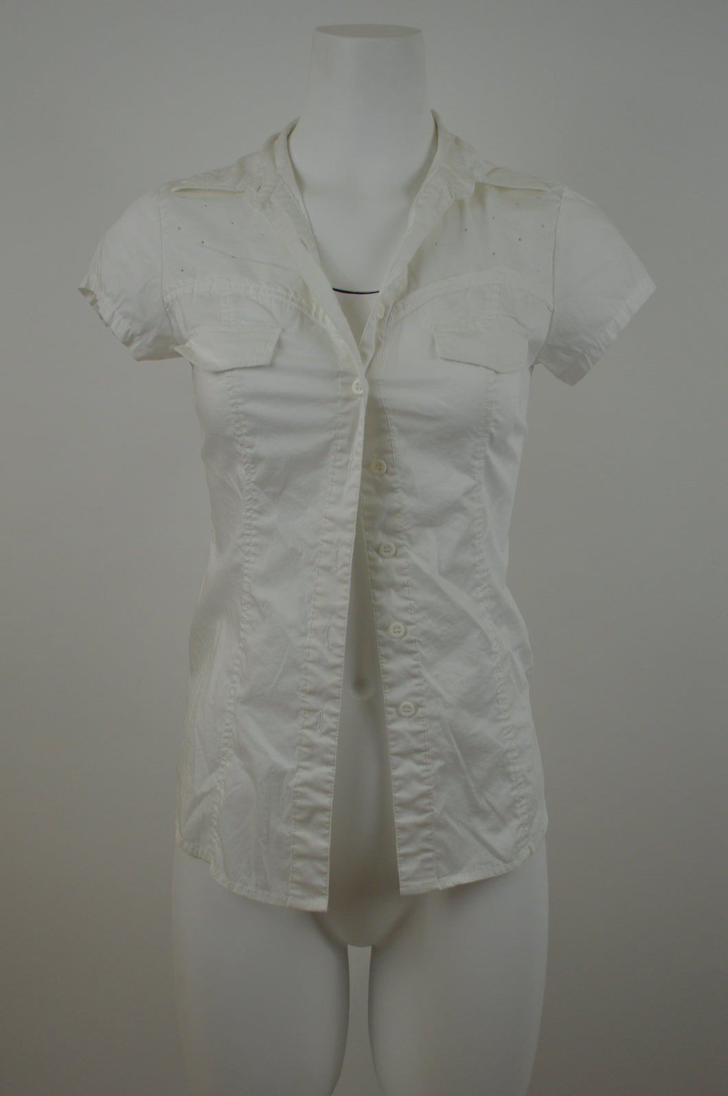 Laced Back Short Sleeve Button Up