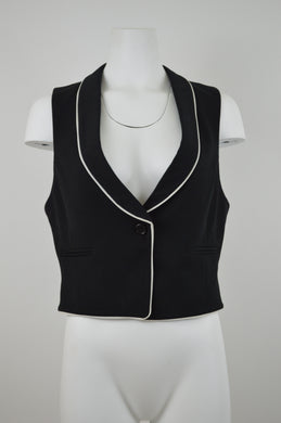 Piped Collar One Button Vest