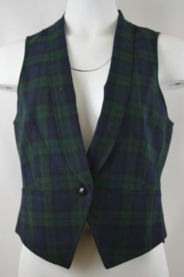 Tartan Collared One Button Vest