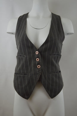 Striped Four Button Two Strap Vest