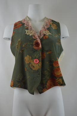 Lace Collar Three Button Floral Vest