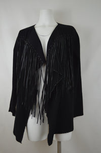 Fringed Open Front High Low Cardigan