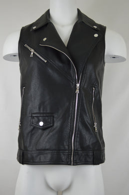Collared Zipper Front Leather Vest