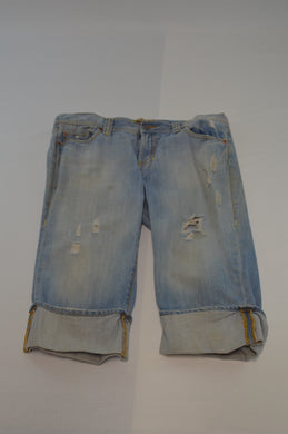 Denim Shorts w/ Wide Folded Hem