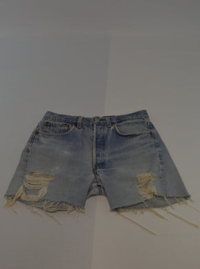 Distressed Cut Away Denim Shorts
