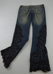 Jeans w/ Lace and Beaded Legs