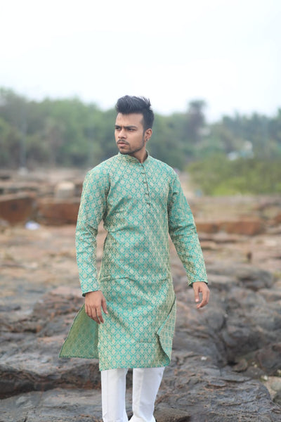 Men Green & Beige Self Design Kurta with Churidar