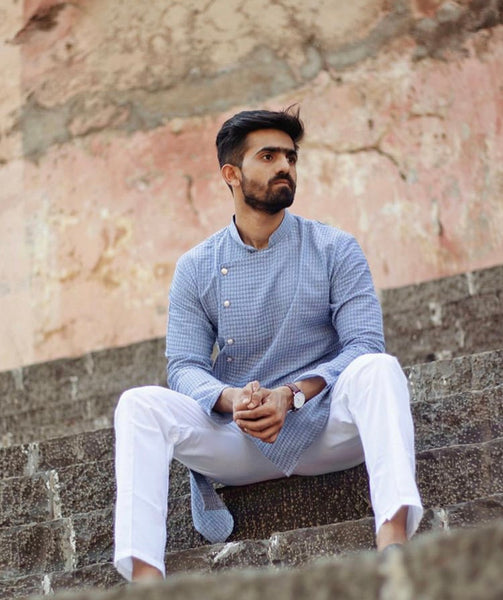 Men Steel Blue Self Design Kurta with Pajama