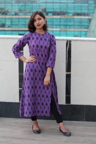 Jompers Women Purple & Black Printed Handloom A-Line Kurta