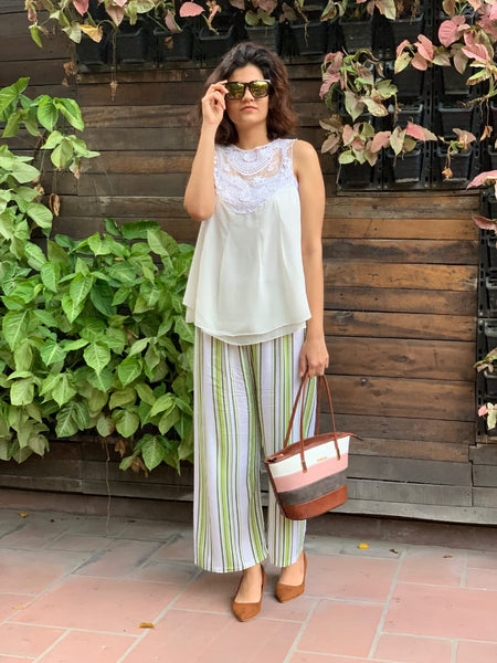 Jompers Women White & Green Striped Straight Palazzos