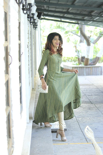 Green Woven Design Flared Kurta