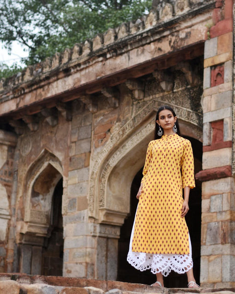 Jompers Women Yellow Printed Cotton-Blend Straight Kurta