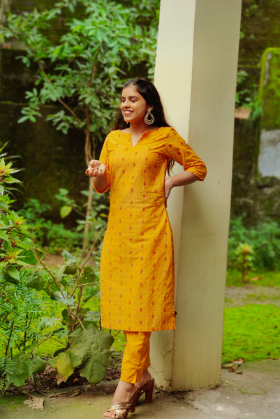 Jompers Women Mustard Yellow Printed Kurta with Trousers