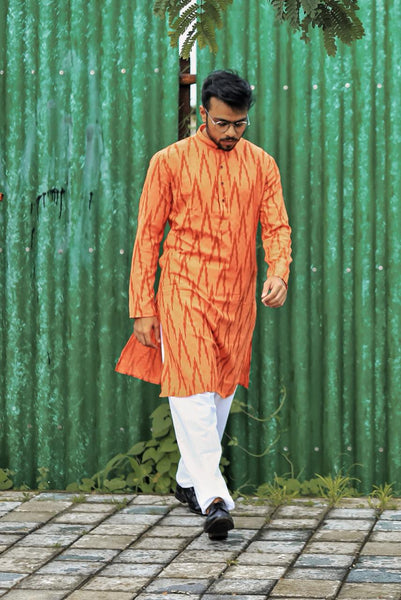 Men Orange Printed Kurta with Churidar