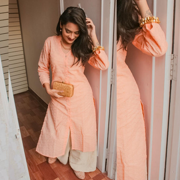 Jompers Peach chikan kurta for women