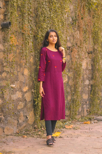 Jompers Women Purple Yoke Design Straight Kurta